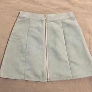 Forever 21 Blue Suede Skirt w/ Zipper - Size Small